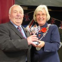 David Trezise being awarded the Sports Award by St Just Town Mayor Marna Blundy