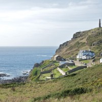 Cape Cornwall with the mine chimney at its summit