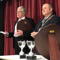 Citizen of the Year, Philip Wilkins being presented with his award by Town Mayor Brian Clemens