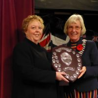 Alison Grose being awarded the Citizen of the Year Award by St Just Town Mayor Marna Blundy