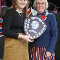 Emily Earley being awarded the Junior Citizen of the Year Award by St Just Town Mayor Marna Blundy