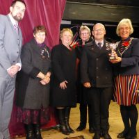 St Just Town Mayor Marna Blundy awards the St Just and District Cancer Research Committee the Community Group Award