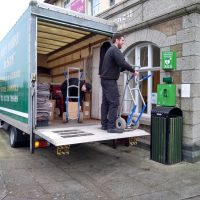 St Just Town Council Office Furniture Being Loaded into Removal Lorry